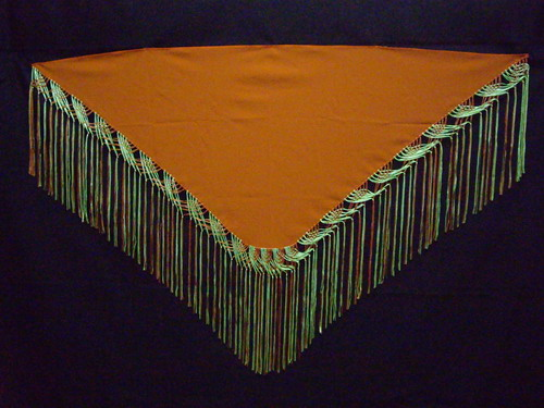 Fringed shawl Orange and Pistachio green. Olmo
